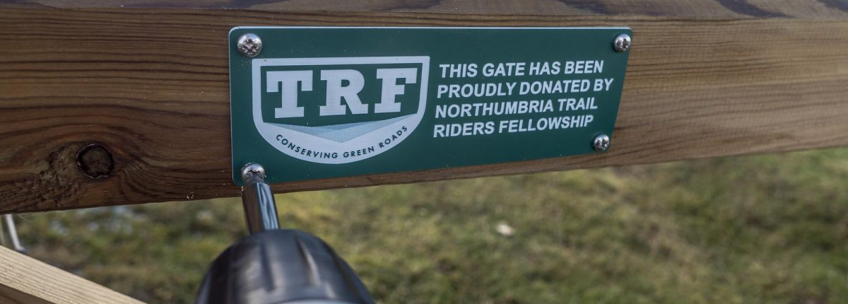 TRF logo on gate in Northumbria